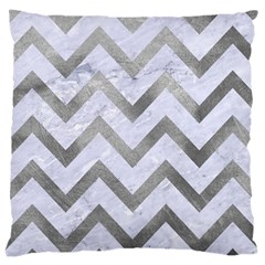 Chevron9 White Marble & Silver Paint (r) Large Cushion Case (two Sides) by trendistuff