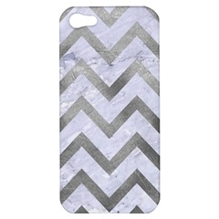 Chevron9 White Marble & Silver Paint (r) Apple Iphone 5 Hardshell Case by trendistuff
