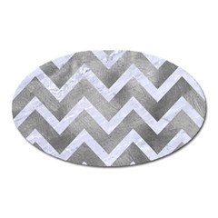 Chevron9 White Marble & Silver Paint Oval Magnet by trendistuff