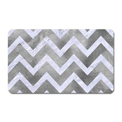 Chevron9 White Marble & Silver Paint Magnet (rectangular) by trendistuff