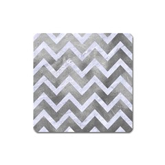 Chevron9 White Marble & Silver Paint Square Magnet by trendistuff