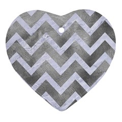Chevron9 White Marble & Silver Paint Heart Ornament (two Sides) by trendistuff