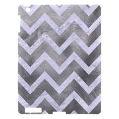 Chevron9 White Marble & Silver Paint Apple Ipad 3/4 Hardshell Case by trendistuff