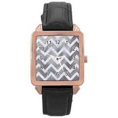 Chevron9 White Marble & Silver Paint Rose Gold Leather Watch