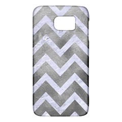 Chevron9 White Marble & Silver Paint Galaxy S6 by trendistuff