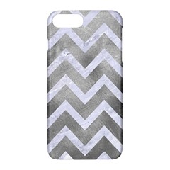 Chevron9 White Marble & Silver Paint Apple Iphone 7 Plus Hardshell Case by trendistuff