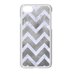 Chevron9 White Marble & Silver Paint Apple Iphone 8 Seamless Case (white) by trendistuff