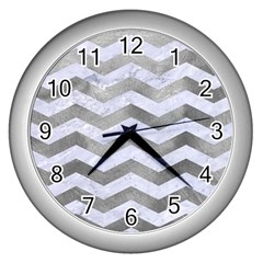 Chevron3 White Marble & Silver Paint Wall Clocks (silver)  by trendistuff