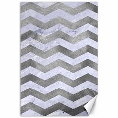 Chevron3 White Marble & Silver Paint Canvas 12  X 18   by trendistuff