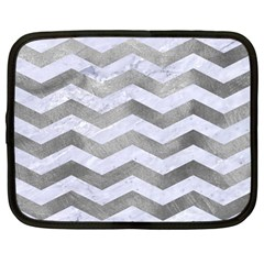 Chevron3 White Marble & Silver Paint Netbook Case (large)