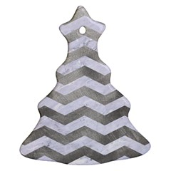 Chevron3 White Marble & Silver Paint Christmas Tree Ornament (two Sides) by trendistuff