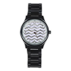 Chevron3 White Marble & Silver Paint Stainless Steel Round Watch by trendistuff