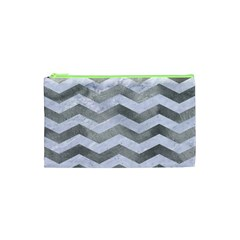 Chevron3 White Marble & Silver Paint Cosmetic Bag (xs) by trendistuff