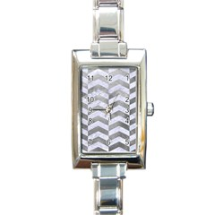 Chevron2 White Marble & Silver Paint Rectangle Italian Charm Watch