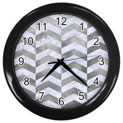 Chevron2 White Marble & Silver Paint Wall Clocks (black) by trendistuff