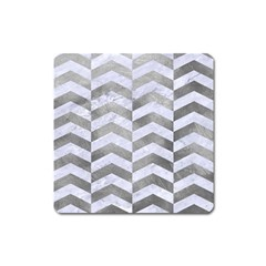 Chevron2 White Marble & Silver Paint Square Magnet by trendistuff