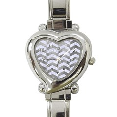 Chevron2 White Marble & Silver Paint Heart Italian Charm Watch by trendistuff