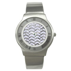 Chevron2 White Marble & Silver Paint Stainless Steel Watch by trendistuff