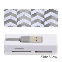 Chevron2 White Marble & Silver Paint Memory Card Reader (stick)  by trendistuff