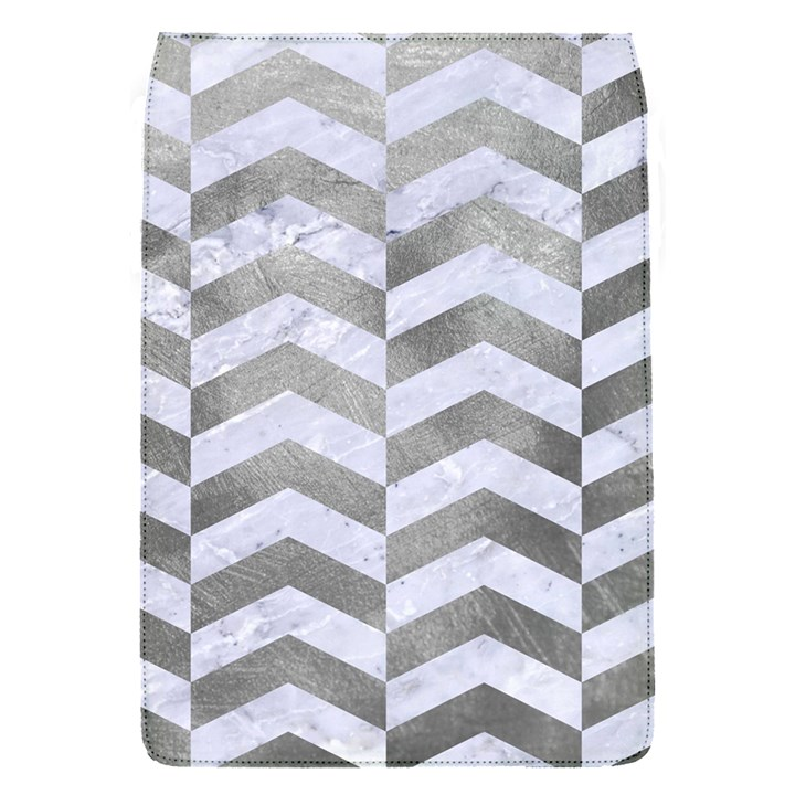 CHEVRON2 WHITE MARBLE & SILVER PAINT Flap Covers (S)