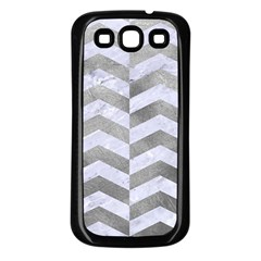Chevron2 White Marble & Silver Paint Samsung Galaxy S3 Back Case (black) by trendistuff