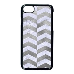 Chevron2 White Marble & Silver Paint Apple Iphone 8 Seamless Case (black) by trendistuff