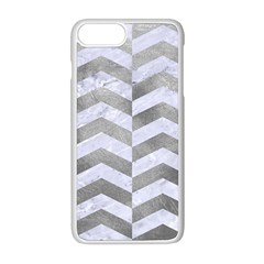 Chevron2 White Marble & Silver Paint Apple Iphone 8 Plus Seamless Case (white) by trendistuff