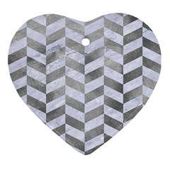 Chevron1 White Marble & Silver Paint Ornament (heart) by trendistuff