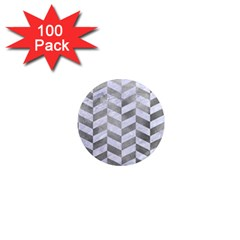 Chevron1 White Marble & Silver Paint 1  Mini Magnets (100 Pack)