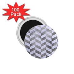 Chevron1 White Marble & Silver Paint 1 75  Magnets (100 Pack)  by trendistuff