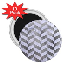 Chevron1 White Marble & Silver Paint 2 25  Magnets (10 Pack)