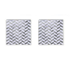 Chevron1 White Marble & Silver Paint Cufflinks (square) by trendistuff