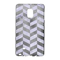Chevron1 White Marble & Silver Paint Galaxy Note Edge by trendistuff