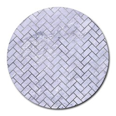 Brick2 White Marble & Silver Paint (r) Round Mousepads by trendistuff