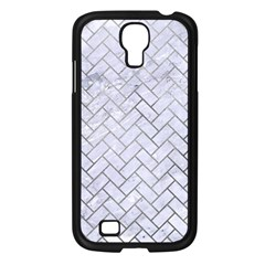 Brick2 White Marble & Silver Paint (r) Samsung Galaxy S4 I9500/ I9505 Case (black) by trendistuff