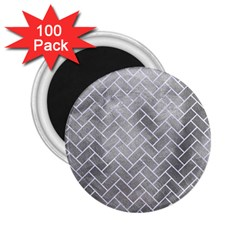 Brick2 White Marble & Silver Paint 2 25  Magnets (100 Pack)  by trendistuff