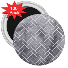 Brick2 White Marble & Silver Paint 3  Magnets (100 Pack) by trendistuff