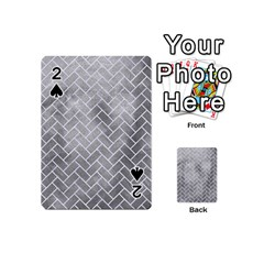 Brick2 White Marble & Silver Paint Playing Cards 54 (mini)  by trendistuff
