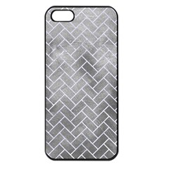 Brick2 White Marble & Silver Paint Apple Iphone 5 Seamless Case (black) by trendistuff