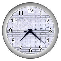 Brick1 White Marble & Silver Paint (r) Wall Clocks (silver)  by trendistuff