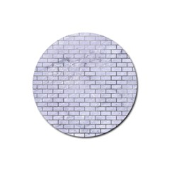 Brick1 White Marble & Silver Paint (r) Rubber Round Coaster (4 Pack)  by trendistuff