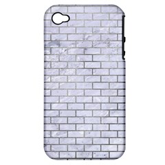 Brick1 White Marble & Silver Paint (r) Apple Iphone 4/4s Hardshell Case (pc+silicone) by trendistuff