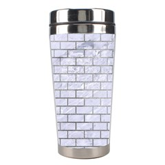Brick1 White Marble & Silver Paint (r) Stainless Steel Travel Tumblers by trendistuff