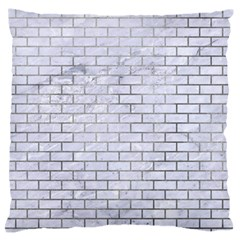 Brick1 White Marble & Silver Paint (r) Large Flano Cushion Case (one Side) by trendistuff