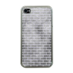 Brick1 White Marble & Silver Paint Apple Iphone 4 Case (clear) by trendistuff