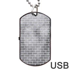 Brick1 White Marble & Silver Paint Dog Tag Usb Flash (one Side) by trendistuff