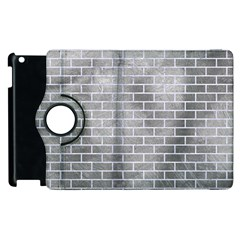 Brick1 White Marble & Silver Paint Apple Ipad 2 Flip 360 Case by trendistuff