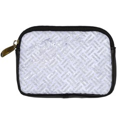 Woven2 White Marble & Silver Glitter (r) Digital Camera Cases by trendistuff