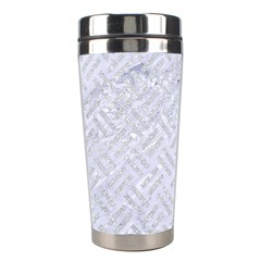 Woven2 White Marble & Silver Glitter (r) Stainless Steel Travel Tumblers by trendistuff