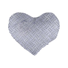 Woven2 White Marble & Silver Glitter (r) Standard 16  Premium Flano Heart Shape Cushions by trendistuff